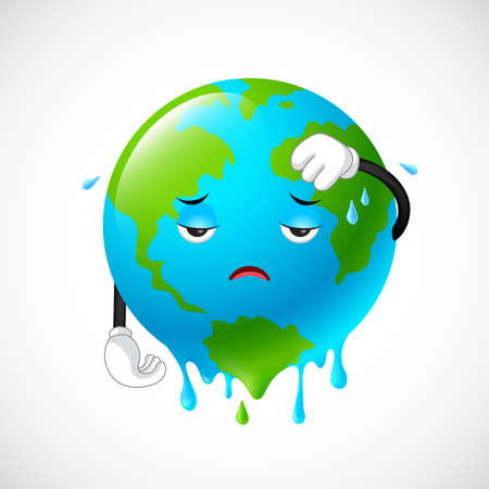 Illustration pour Stop global warming. Planet earth character,  illustration. - image libre de droit