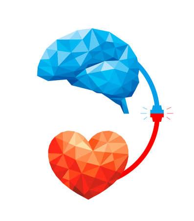 Ilustración de Connection between logic and emotion concept. Polygonal style of  Brain and heart. Vector illustration design isolated on white background. - Imagen libre de derechos