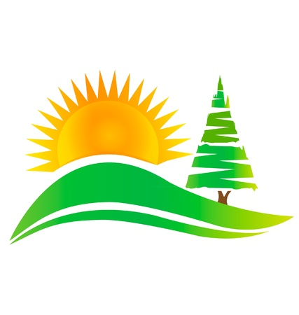 Green tree -hills and sun logo