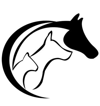 Horse dog and cat logo silhouette