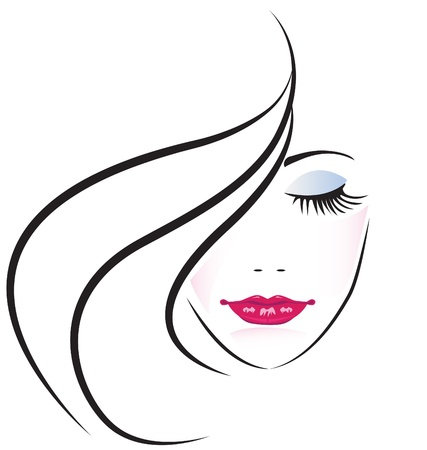 Face of pretty woman silhouette