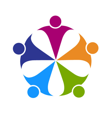 Foto per Teamwork friendship party people concept of leader cooperation workers friends vector logo template - Immagine Royalty Free