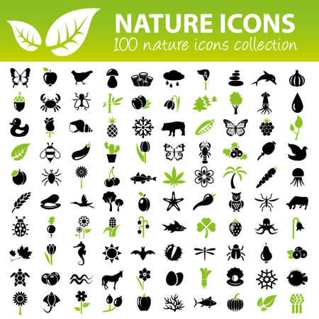 Illustration pour nature icons collection - image libre de droit
