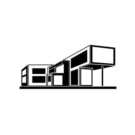Illustration pour modern house building, real estate icon - image libre de droit