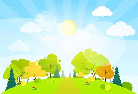 Illustration pour summer landscape mountain forest road blue cloud sky with sun green grass and tree woods flat design vector illustration - image libre de droit