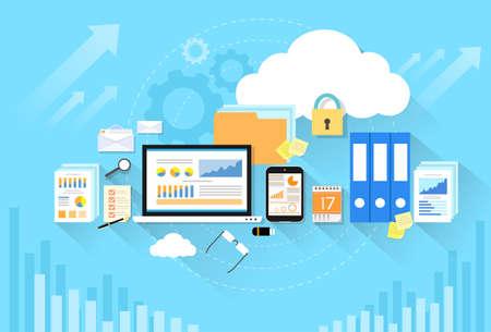 Illustration pour Computer device data cloud storage security flat design - image libre de droit