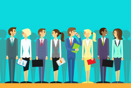 Illustration pour business people group human resources flat vector - image libre de droit