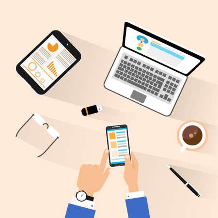 Illustration pour businessman use phone at workplace top above view desk - image libre de droit