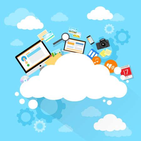 Illustration pour Cloud computing technology device set internet data information storage - image libre de droit