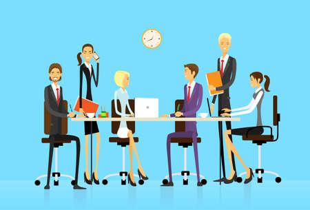 Illustration pour Business people group sitting at office desk creative team vector illustration - image libre de droit