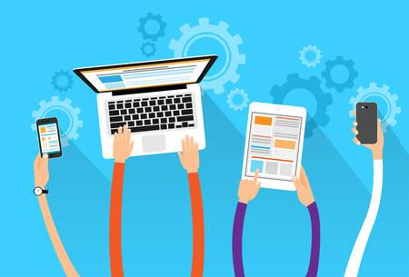 Illustration pour long hands hold device electronics gadget concept laptop phone tablet flat vector illustration - image libre de droit