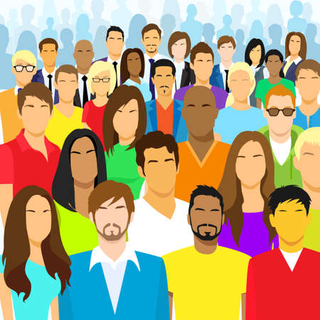 Illustrazione per Group of Casual People Face Big Crowd Diverse - Immagini Royalty Free