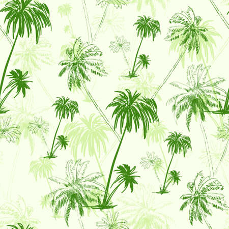 Illustration for palm tree green seamless pattern over vector - Royalty Free Image