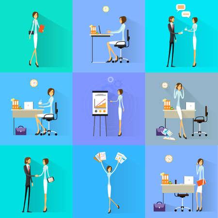 Illustration for Business woman working set office desk flat design vector illustration - Royalty Free Image