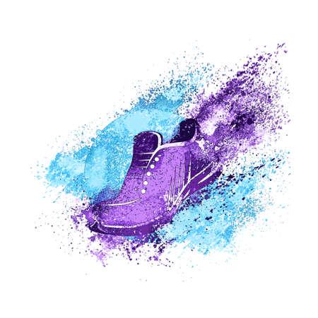 Ilustración de Sneaker Splash Paint Shoes Run Concept Vector - Imagen libre de derechos