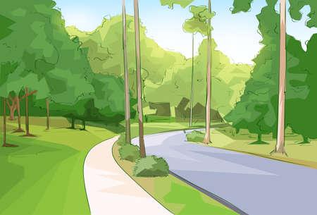 Illustration pour Green Park Forest Road Modern City Vector Illustration - image libre de droit