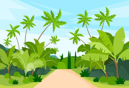 Illustration pour Jungle Forest Green Landscape with Road Path and Blue Sky Vector Illustration - image libre de droit