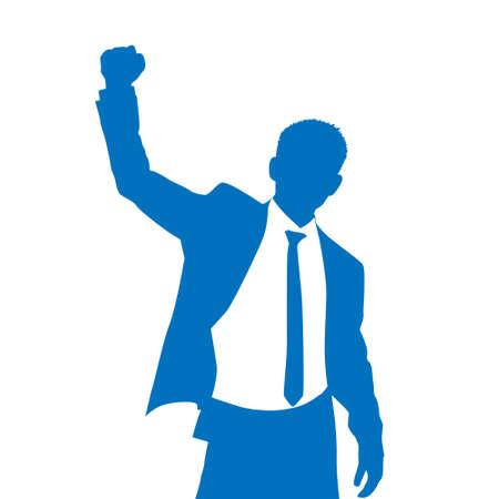 Illustration pour Business Man Silhouette Excited Hold Hands Up - image libre de droit