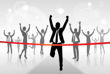 Illustration pour Running Businessman Crossing Finish Line Win Success - image libre de droit