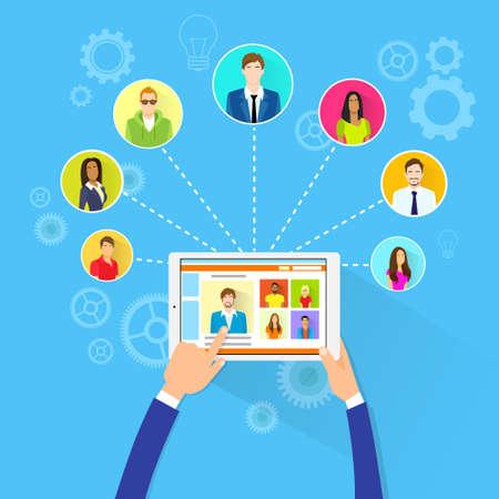Ilustración de Remote Working Concept Internet Tablet Computer Manager - Imagen libre de derechos