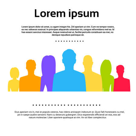 Illustrazione per People Group Colorful Silhouettes Icons Vector - Immagini Royalty Free