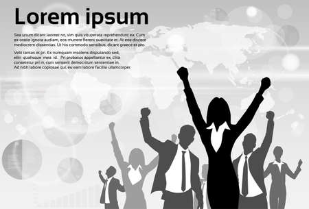 Illustration pour Business People Group Silhouette Excited Hold Hands Up Raised Arms - image libre de droit