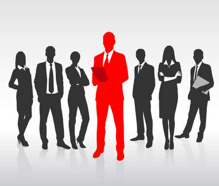 Illustrazione per Red Businessman Silhouette, Black Business People Group Team Concept - Immagini Royalty Free