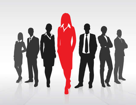 Illustration pour Red Businesswoman Silhouette, Black Business People Group Team Concept - image libre de droit
