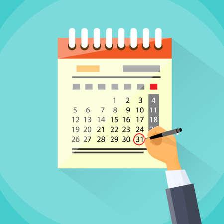 Illustration pour Calendar Hand Draw Pen Red Circle Date Last Day Month - image libre de droit