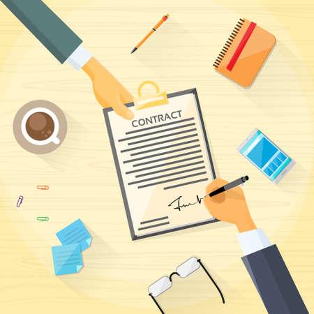 Ilustración de Contract Sign Up Paper Document Business People Agreement - Imagen libre de derechos