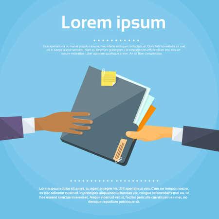 Illustration pour Hands Give Folder Document Papers, Concept Businessmen Share - image libre de droit