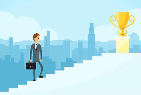 Illustration pour Businessman Walking Up Stairs - image libre de droit