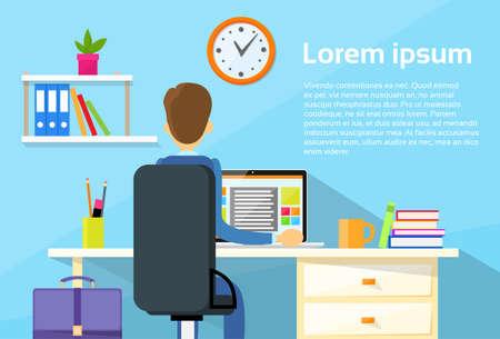 Ilustración de Business Man Sitting on office Desk - Imagen libre de derechos