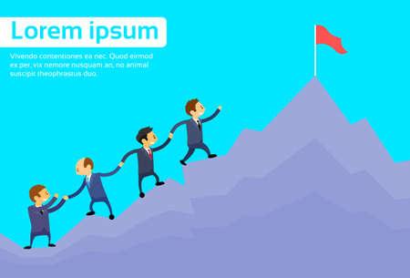 Illustration pour Business People Team Climbing Top Peak, Businesspeople Cartoon Group High Mountain Flat Vector Illustration - image libre de droit