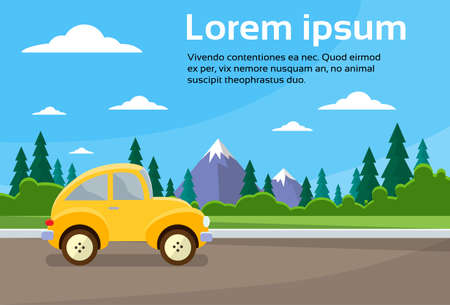 Photo pour Car Road Landscape Mountain Flat Vector Illustration - image libre de droit