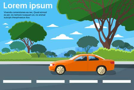 Photo pour Car Drive Road Landscape Flat Vector Illustration - image libre de droit