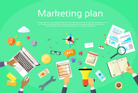 Ilustración de Digital Marketing Plan Creative Team Flat Vector Illustration - Imagen libre de derechos