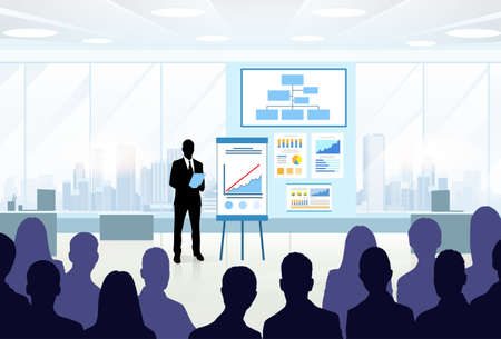 Illustration pour Business People Group Silhouettes at Conference Meeting Flip Chart with Graph Vector Illustration - image libre de droit