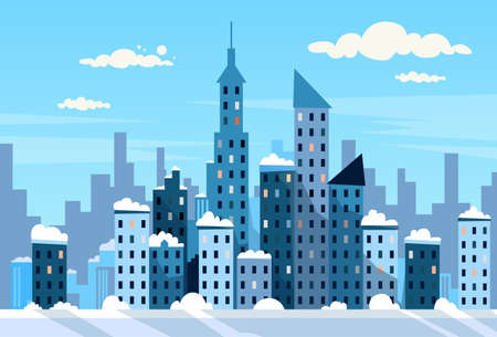 Illustration for Winter City Skyscraper View Cityscape Snow Skyline Vector Illustration - Royalty Free Image