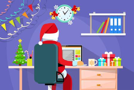 Ilustración de Santa Claus Sitting Desk Using Laptop Internet Back Rear View Christmas Holiday Flat Vector Illustration - Imagen libre de derechos