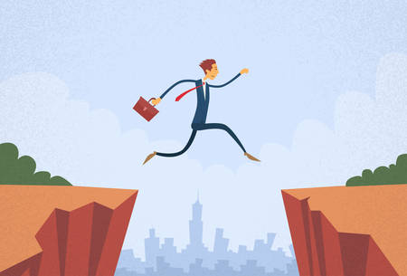Illustration for Businessman Jump Over Cliff Gap Mountain Flat Retro Vector Illustration - Royalty Free Image