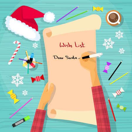 Illustration pour Merry Christmas Wish List To Santa Clause Child Hand Writing Pen on Paper Desk Flat Vector Illustration - image libre de droit