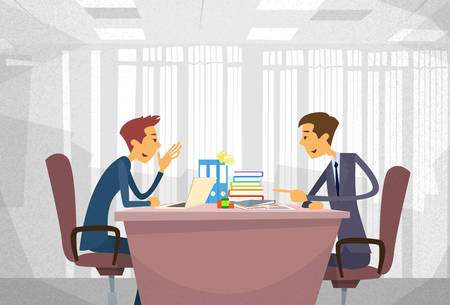 Ilustración de Two Business Man Talking Discussing, Businessmen Chat Sitting Office Desk Concept Communication Flat  - Imagen libre de derechos