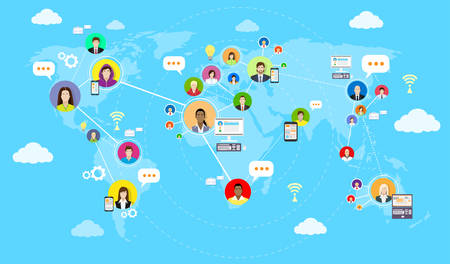 Illustration pour Social Media Communication World Map Concept Internet Network Connection People Flat Vector Illustration - image libre de droit