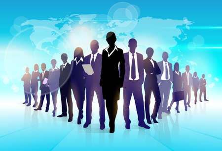 Ilustración de Business People Team Crowd Walk Black Silhouette Concept Businesspeople Group Human Resources over World Map Background Vector Illustration - Imagen libre de derechos
