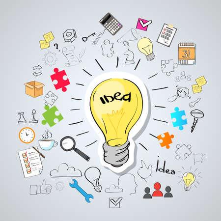 Illustration pour Light Bulb Idea Creative Concept Doodle Sketch Hand Draw Background Business Brainstorming Infographic - image libre de droit