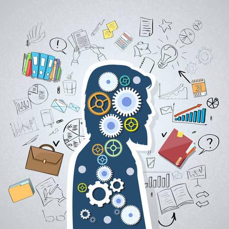 Illustration pour Businessman Head Man Silhouette Cog Wheel Doodle Hand Draw Business Concept Sketch Background Vector Illustration - image libre de droit