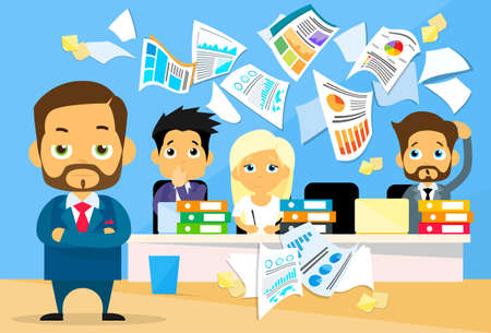 Illustrazione per Business People Conflict Problem, Boss Team Working Throw Papers, Documents Fly Concept  Negative Emotion, Businesspeople Desk Office Flat Vector Illustration - Immagini Royalty Free