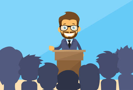 Illustration pour Business Man Tribune Speech People Group Silhouettes Conference Meeting Business Seminar Flat Vector Illustration - image libre de droit