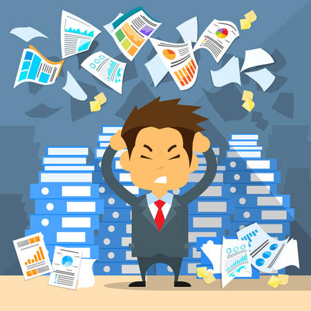 Illustrazione per Business Man Throw Papers Hold Hands on Temples Head, Concept of Stressed Businessman Headache Problem Documents Fly Concept Negative Emotion Office Flat Vector Illustration - Immagini Royalty Free